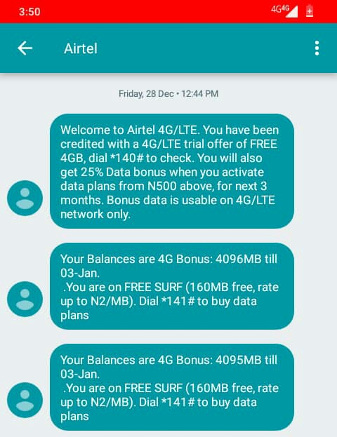 How To Activate 4GB and 9GB Data on Airtel 4G sim for N1000 Naira