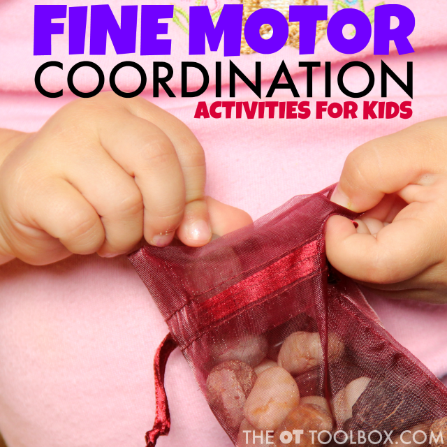 Fine motor coordination activities with everyday items are fun for kids.