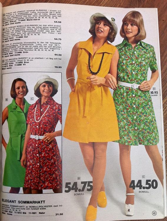 1187587f869e Rowells vår & sommar 1974 är fylld av blommiga och färgglada skönheter.  Lägg märke till modellernas fjärran blickar i alla kataloger från 70-talet.