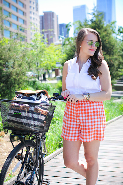orange gingham shorts