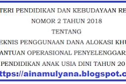 Permendikbud No 2 [Tahun] 2018 (Tentang) Juknis PENGGUNAAN DAK NONFISIK BOP PAUDNI [Tahun] 2018