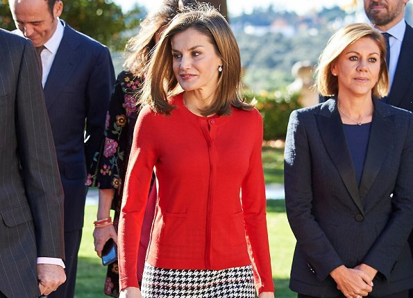 Queen Letizia wore HUGO BOSS Vulnona Skirt, Magrit pumps Hugo Boss red Sweater, pearl and silver earrings