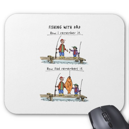 i Smiled You: Fishing With Dad | Funny Cartoon Mousepad