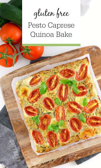 Easy Gluten Free Quinoa Pesto Caprese Quinoa Bake - gluten free, low fat, healhy, clean eating recipe, meal prep recipes, quinoa casserole, high protein