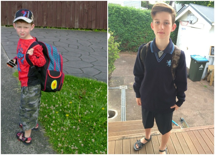 Dash's first day of primary school vs First day of High School