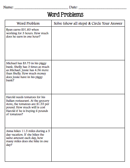 Two Step Word Problems 3Rd Grade Worksheets Free ...