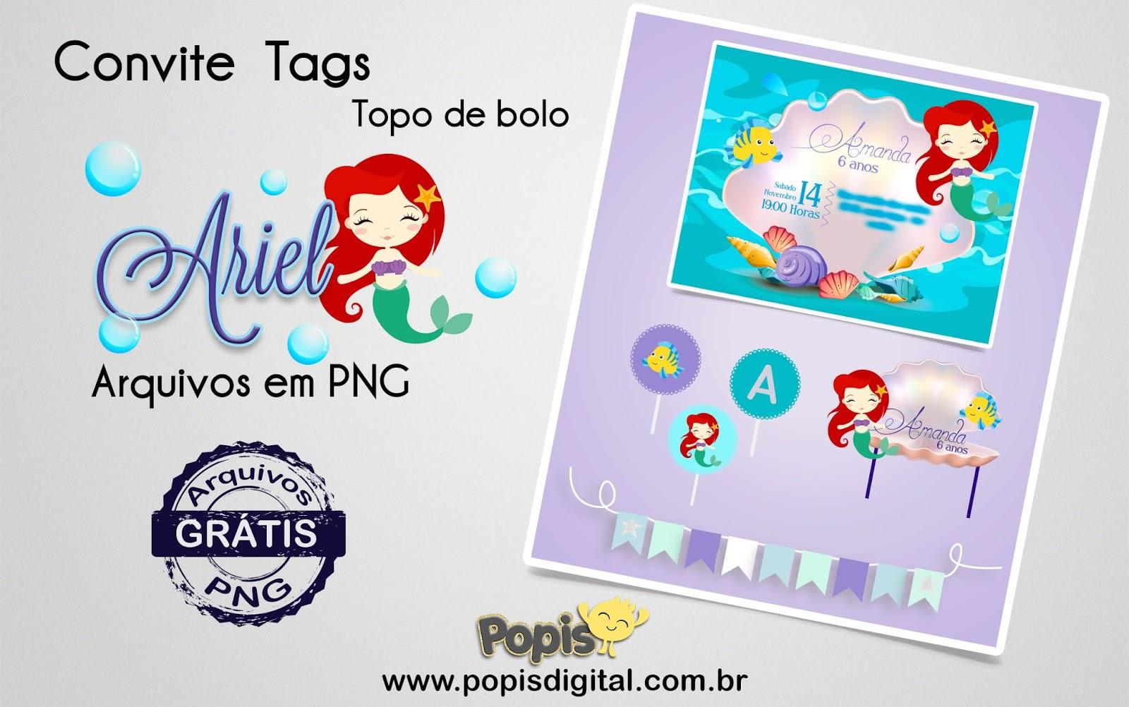Convites Tags E Topo De Bolo Tema Ariel Totalmente Gratuito