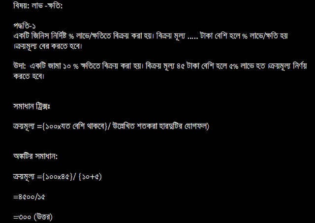 Ganit Shortcut Tricks in Bengali: Profit & Loss