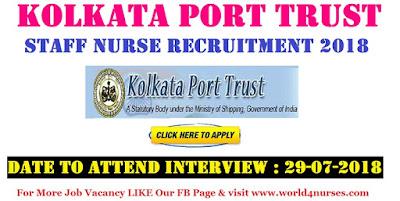 Kolkata Port Trust Staff Nurse Recruitment 2018
