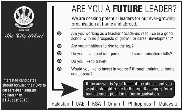 Teachers Jobs in The City School Pakistan