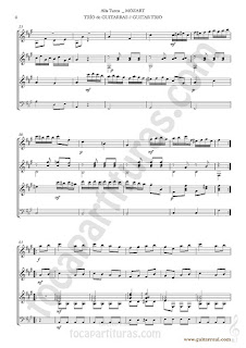 4  Marcha Turca Partitura de Trio de Guitarra y guitarra bajo Guitar Sheet Music for three guitars