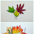 Middle School Art: Ink and Watercolor Leaf Contour Drawings