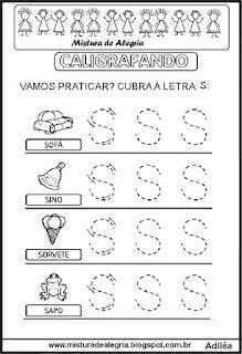 Caligrafando letra S pontilhada