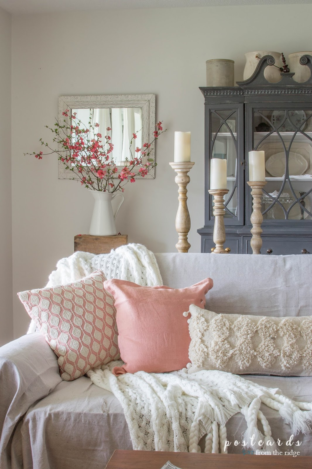 Blush and bashful spring accents in the living room postcards from the ridge White home design ideas