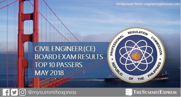 TOP 10 PASSERS: May 2018 Civil Engineer CE board exam results