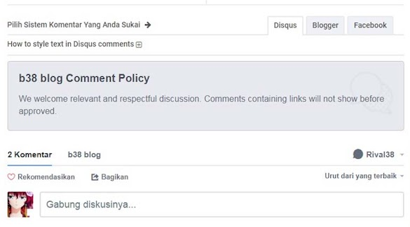 Cara Membuat Comment Policy di Komentar Disqus