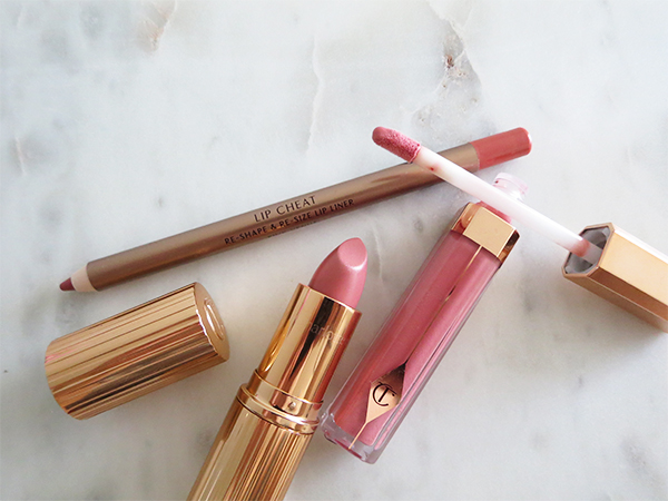 Charlotte Tilbury Uptown Girl Lip Kit with Lip Cheat lip liner pencil in Pink Venus, K.I.S.S.I.N.G. Lipstick in Bitch Perfect, and Lip Lustre lip gloss in Sweet Stiletto