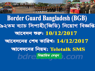 BGB 92th batch soldier Recruitment Circular 2017