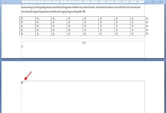 menghilangkan halaman kosong di akhir dokumen ms word