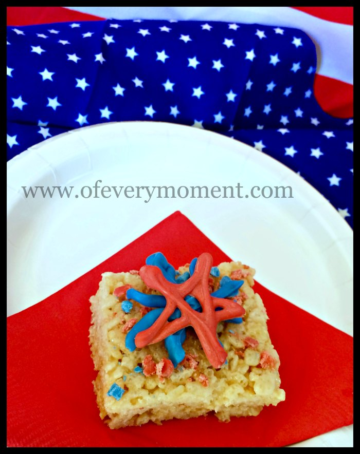 Patriotic Rice Krispies Squares - perfect for any American holiday party.