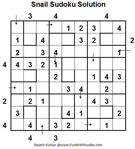 Snail Sudoku (Daily Sudoku League #74) Solution