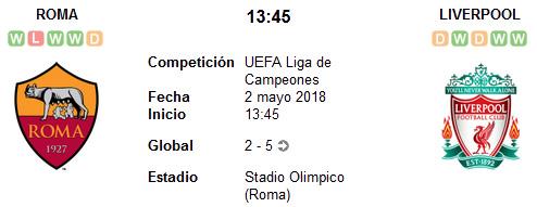 Roma vs Liverpool en VIVO