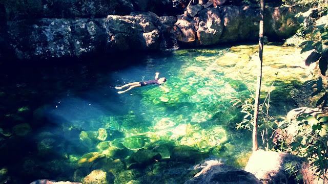 Transparência das cachoeiras Lokinhas, em Alto Paraíso.