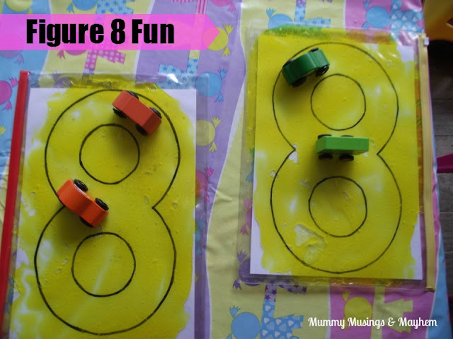 Toddler car track crossing midline activity