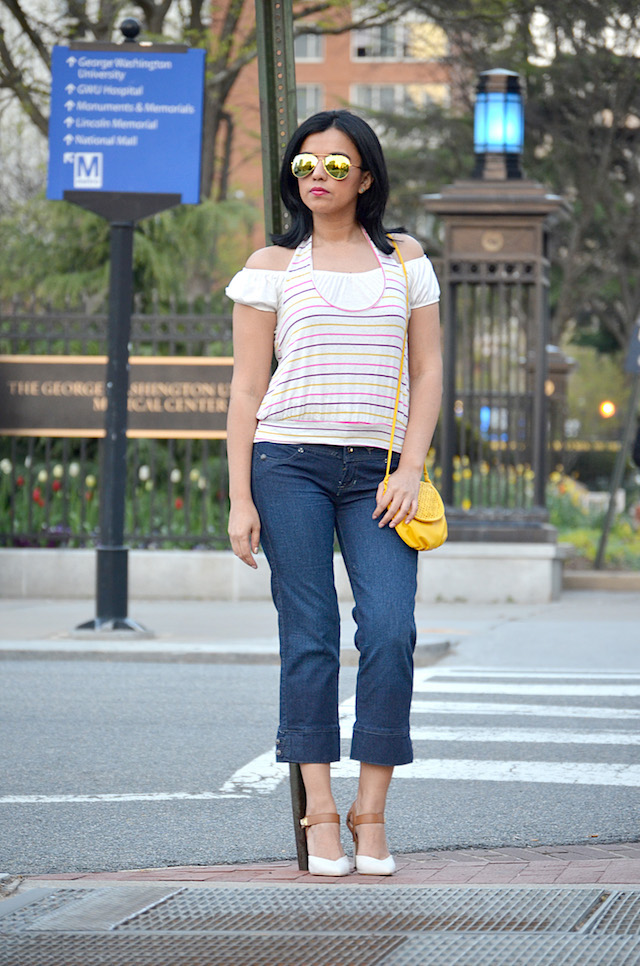 A touch of yellow-Mariestilo-lookoftheday-culotte-outfit con jeans- blogger style-bolsa amarilla-yellow bag