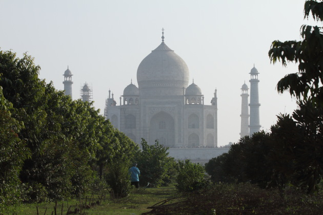 Taj Mahal as seen from Mehtab Bagh, Agra, India