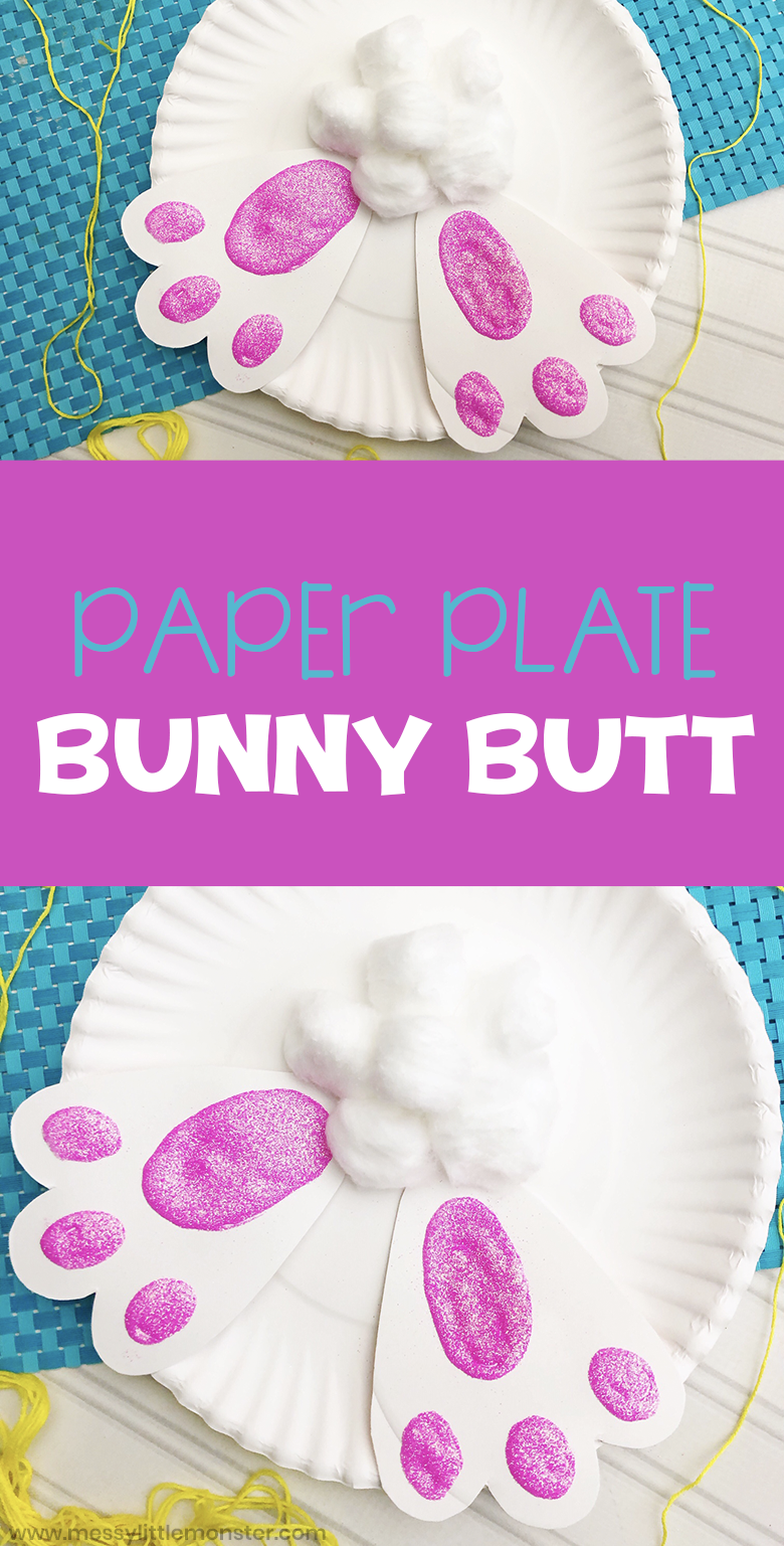 Paper plate bunny craft. A fun bunny butt Easter craft for kids