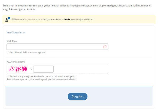 e-devlet imei sorgulama sayfası
