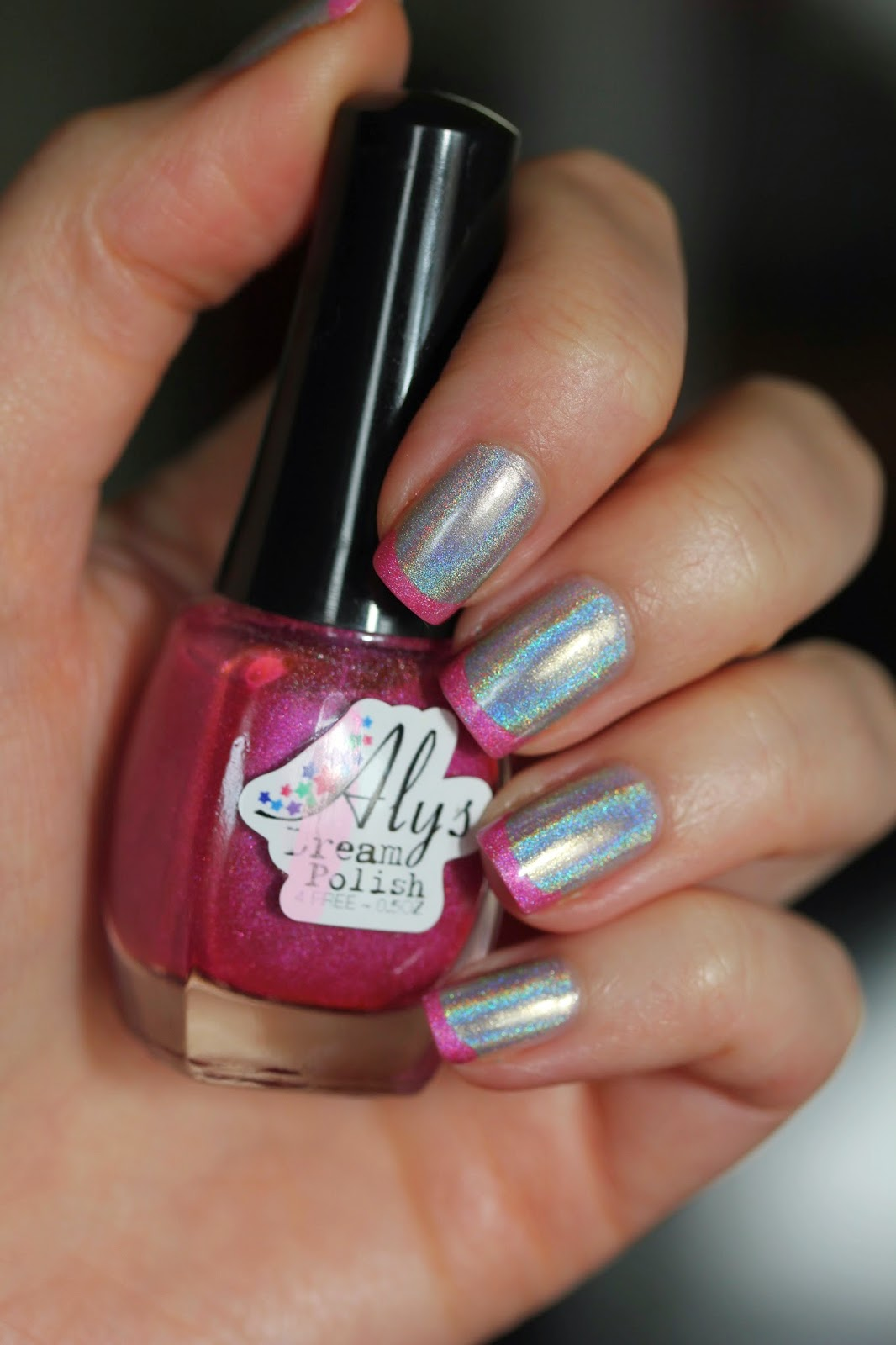 Holographic French Manicure
