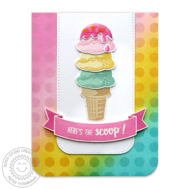 Sunny Studio Two Scoops Layering Ice Cream Card with Polka-dot Background by Mendi Yoshikawa