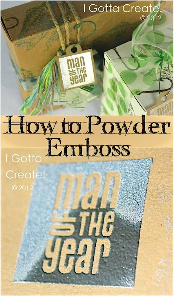How to powder #emboss ~ great for creating cards, gift boxes, wrapping paper and more! | Tutorial at I Gotta Create!
