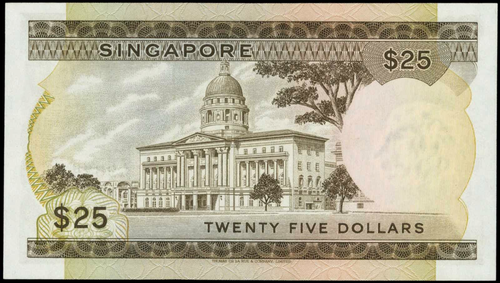 25 Singapore dollar note SGD Orchid