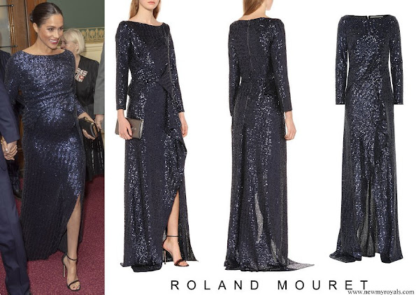 Meghan Markle wore ROLAND MOURET Sequined gown