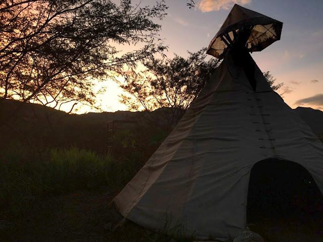 teepee at sunset