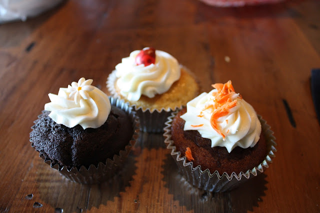 Chocolate, cornbread and carrot cupcakes