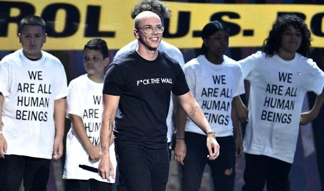 Rapper Logic Dons 'F*ck The Wall' T-Shirt During Political MTV Awards Performance