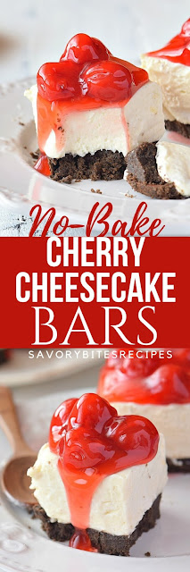No Bake Cherry Cheesecake Bars