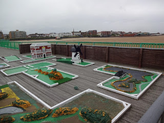 The Crazy Golf course at the end of St Annes Pier