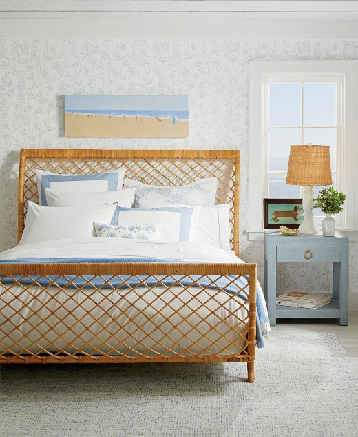 Beach Blue Bedroom Look with Rattan Bed