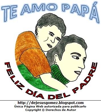 Imagen del Día del Padre para niños a color. Dibujo al Día del Padre de Jesus Gómez