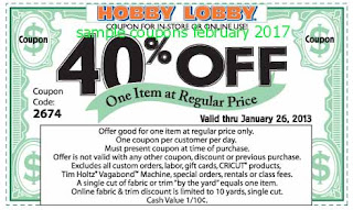 Hobby Lobby coupons for february 2017