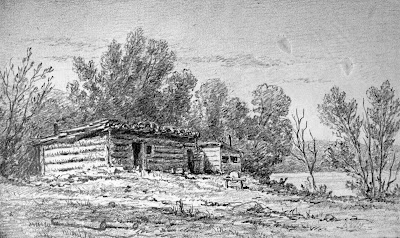 Climbing My Family Tree: Drawing of Log Shanty, Ontario CA by William Harlow White. 1875.