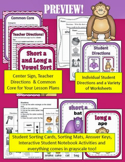 Fern Smith's Classroom Ideas - Fern's Freebie Friday ~ Vowel Sorting Short a & Long a Interactive Notebook Activity at TeacherspayTeachers.