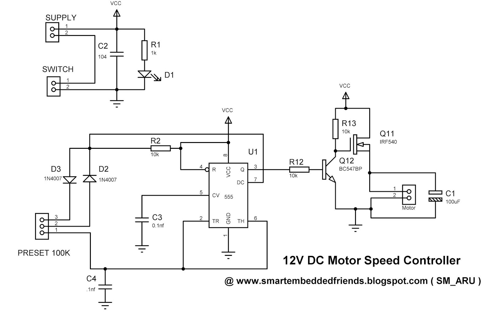 Pwm Dc Motor Speed Controller Using The 555 Timer Ic Smart Circuit For Diagram Sm Aru