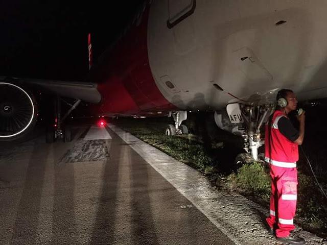 (Gambar) Pesawat Airbus 320 AirAsia Tergelincir
