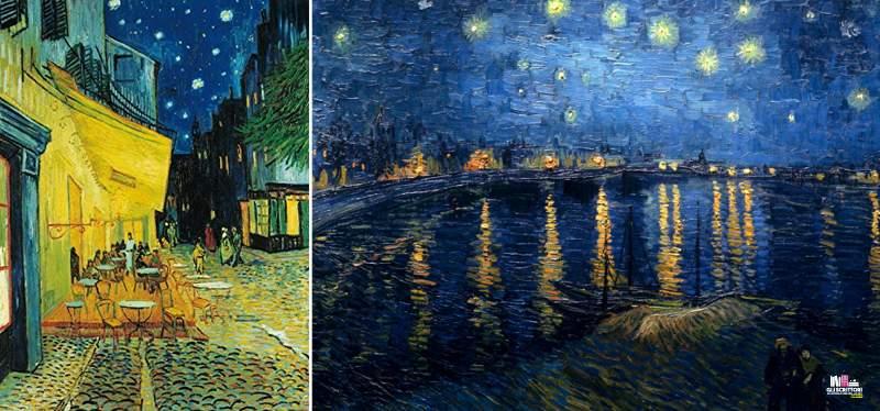 Van Gogh, Esterno di caffè di notte e Notte stellata sul Rodano